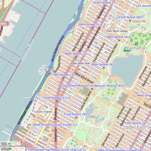 Karte Upper West Side